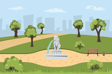 Park with fountain in cartoon style. Landscape with trees, bushes and grass. Parkland with lion statue on road. Outdoor nature background 向量圖像