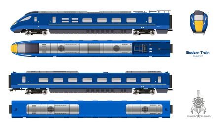 Isolated blueprint of blue modern train. Side, top and front views. Realistic 3d locomotive. Railway vehicle. Railroad pessenger transport. Vector illustration
