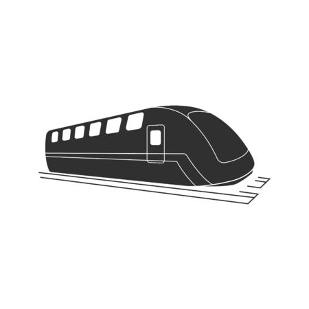 Black modern train  . Locomotive silhouette. Railroad icon. Railway graphic. Speed vehicle symbol Ilustração