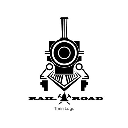 Retro trail logo. Black silhouette of vintage locomotive. Railway icon. Railroad sign