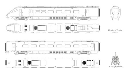 Outline blueprint of modern train. Side, top and front views. Isolated locomotive. Railway vehicle. Railroad pessenger transport Ilustração