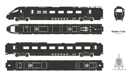 Black silhouette  of modern train. Side, top and front views. Isolated locomotive blueprint. Railway vehicle. Railroad pessenger transport. Vector illustration