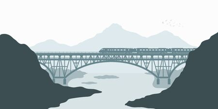 Silhouette scene. Landscape with railway bridge. Trevel by train. Mountain's railroad scenery. Modern express locomotive in valley. Vector illustration Ilustração
