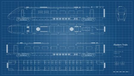 Outline blueprint of modern train. Side, top and front views. Contour locomotive. Railway vehicle. Railroad pessenger transport Ilustração