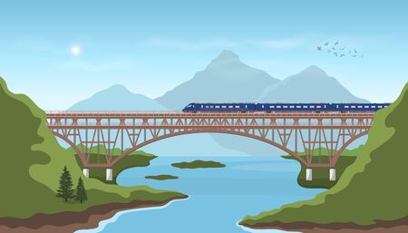 Landscape with railway bridge. Trevel by train. Mountain's railroad scenery. Modern express locomotive in valley. Vector illustration