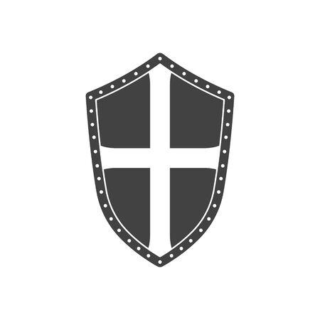 Black silhouette of isolated knight shield. Medieval armor icon. Fantasy sign. 向量圖像