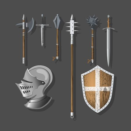 Knight weapons and armor. Warrior sword, shield and helmet. Realistic 3d medieval icon for game