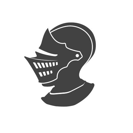 Black silhouette of isolated knight helmet. Side view. Medieval armor icon. Fantasy sign Imagens - 145067656