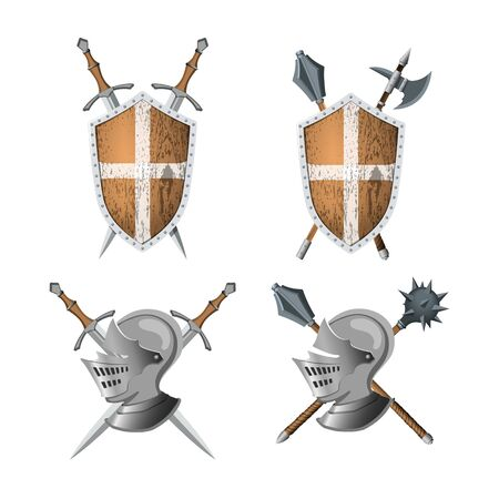 Knights coat of arms. Warrior weapons and armor. Sword, shield and helmet in realistic style. Heraldic badge. 3d medieval icon for game Ilustração