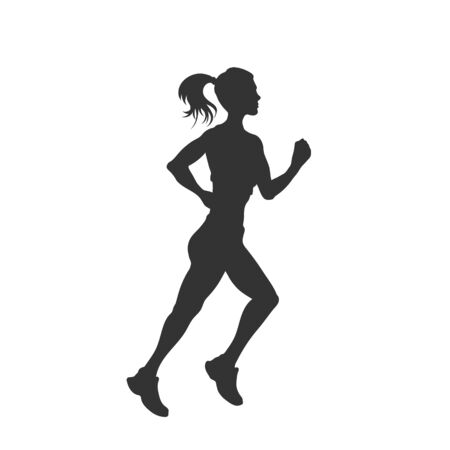 Black silhouette of running girl. Outdoor fitness. Young active woman. Isolated workout image. Vector illustration Imagens - 145694332