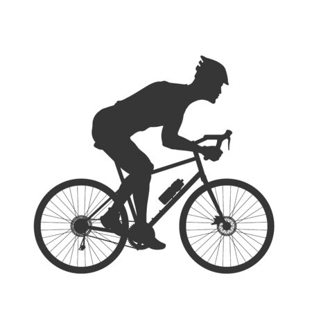 Black silhouette of cyclist. Outdoor fitness. Young active man. Isolated bicyclist image. Side view. Vector illustration 向量圖像