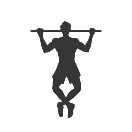Black silhouette of tightening man. Horizontal bar. Outdoor fitness. Young active boy. Isolated workout image. Vector illustration