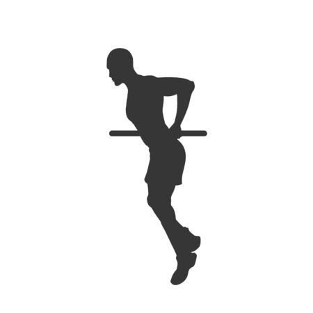 Black silhouette of pull-up man. Horizontal bar. Outdoor fitness. Young active boy. Isolated workout image. Vector illustration
