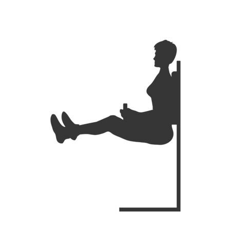 Black silhouette of push up girl. Press exercise. Outdoor fitness. Young active women. Isolated workout image. Vector illustration