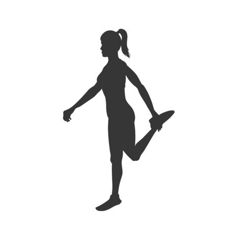 Black silhouette of stretching girl. Gymnastic exercise. Outdoor fitness. Young active woman. Isolated workout image. Vector illustration