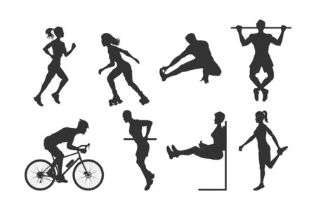 Black silhouettes of fitness people. Outdoor sport. Young active men and girls. Isolated athletic image. Side view. Vector illustration