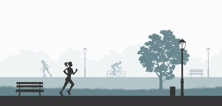 Outdoor fitness. Silhouettes of exercising people. Park landscape with athletic men and women. Workout panorama. Sports action. Vector illustration 向量圖像