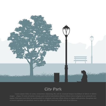 City park silhouette. Industrial outdoor landscape. Nature scene with tree and dog near  lantern. Urban scene Imagens - 145700472
