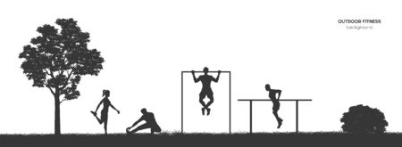 Workout panorama. Outdoor fitness. Silhouettes of training people. Park landscape with athletic men and women. Sports action. Vector illustration 向量圖像
