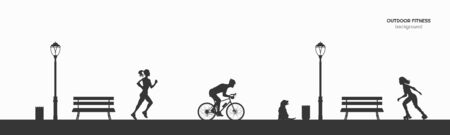Outdoor fitness. Silhouettes of runner, roller and bicyclist. Park landscape with athletic men and women. Workout panorama. Sports action. Vector illustration