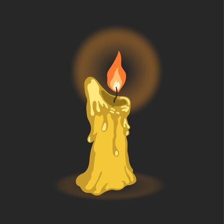 Cartoon candle. Memorial day symbol. Spiriluality scene. Religion ceremony icon. Vector illustration Ilustração