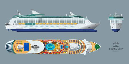 Isolated blueprint of cruise ship. Side, top and front views. Realistic 3d liner. Detailed drawing of modern marine vessel. Sea travel transpotation. Vector illustration