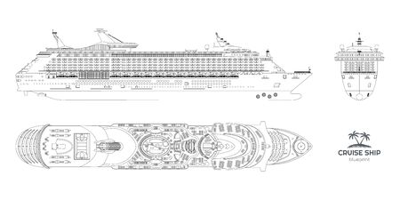 Outline blueprint of cruise ship. Side, top and front views. Contour isolated liner. Detailed drawing of modern marine vessel. Sea travel transpotation. Vector illustration