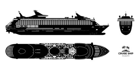 Black silhouette of cruise ship. Side, top and front views. Isolated liner blueprint. Detailed drawing of modern marine vessel. Sea travel transpotation. Vector illustration