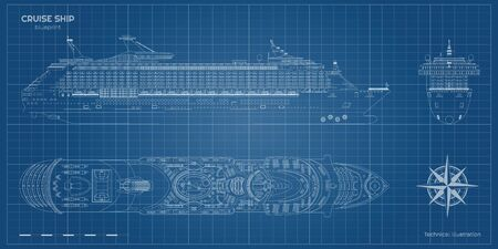 Outline blueprint of cruise ship. Side, top and front views. Contour liner. Detailed drawing of modern marine vessel. Sea travel transpotation. Boat document. Vector illustration Ilustração