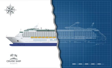 Isolated blueprint of cruise ship. Side view. Realistic 3d liner. Detailed drawing of modern marine vessel. Sea travel transpotation. Vector illustration Ilustração