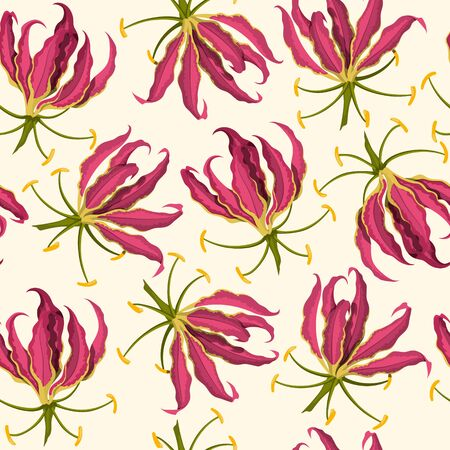 Tropical flowers seamless pattern. Fabric print. Exotic bud. Pink floral plant in cartoon style. Jungle flora