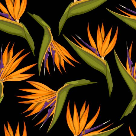 Tropical flowers seamless pattern. Fabric print. Exotic textile design. Orange floral plant in cartoon style. Jungle flora on black background