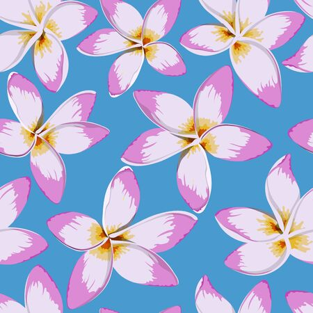 Tropical flowers seamless pattern. Plumeria image. Fabric print. Exotic textile design. Pink floral plant in cartoon style. Jungle flora Imagens - 149794612