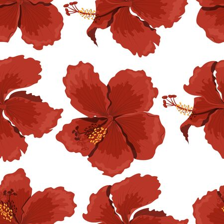 Tropical flowers seamless pattern. Hibiscus image. Fabric print. Exotic textile design. Red floral plant in cartoon style. Jungle flora Illustration
