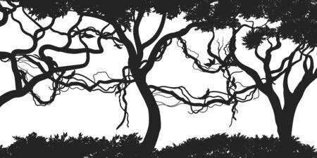 Jungle plants background. Tropical black silhouette. Isolated exotic flora. Wild nature scene. Rainforest landscape. Design elements. Vector illustration