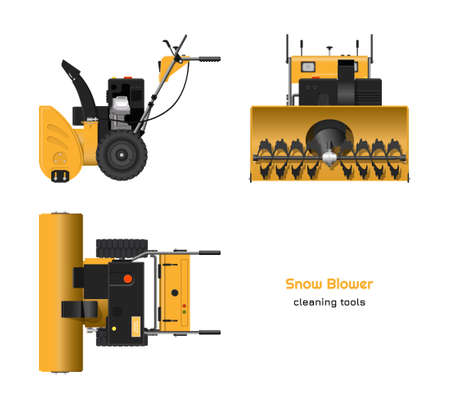 Blueprint of snow blower in realistic style. Top, side and front view. Winter hand tool for ice removal. Isolated 3d plow machine Çizim