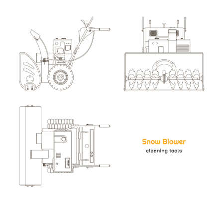 Outline blueprint of snow blower. Top, side and front view. Winter hand tool for ice removal. Isolated contour plow machine
