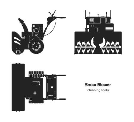Black silhouette of snow blower. Top, side and front view. Winter hand tool for ice removal. Isolated plow machine Vectores
