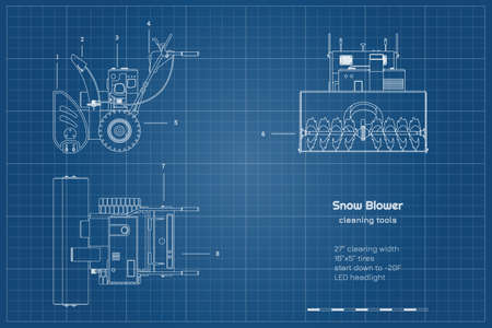 Outline blueprint of snow blower. Top, side and front view. Winter hand tool for ice removal. Contour plow machine Vectores