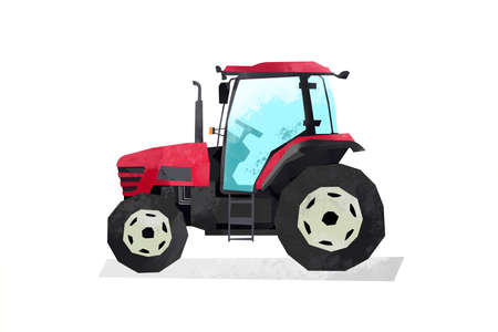 Watercolor red tractor. Cartoon print for kids room. Boys bedroom decor. Isolated industrial machine