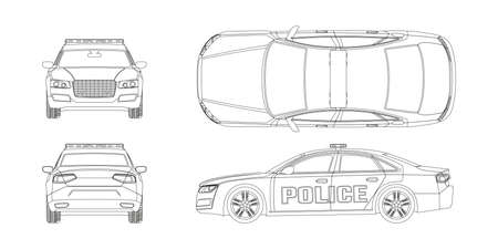 Outline police car blueprint. Front, side, back and side views. Patrol automobile drawing. Isolated image. City guard