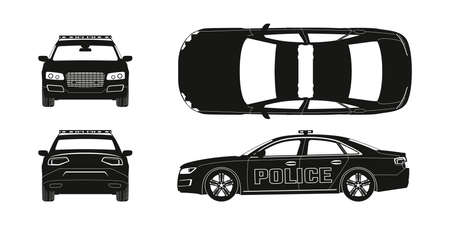 Black silhouette of police car. Front, side, back and side views. Patrol automobile drawing. Isolated blueprint. City guard Ilustração