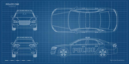 Outline police car blueprint. Front, side, back and side views. Patrol automobile drawing. Industrial document. City guard