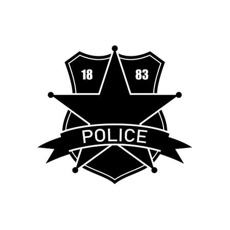 Police department . Policeman badge. Isolated icon. Black silhouette of federal icon Ilustración de vector