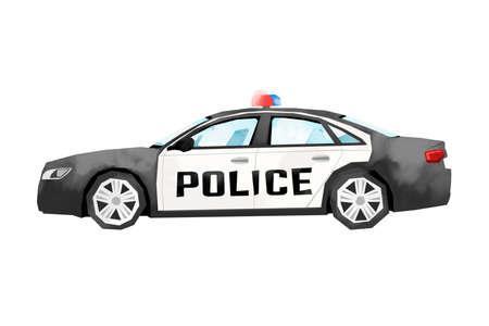 Watercolor police car. Cartoon print for kids room. Boys bedroom decor. Isolated patrol automobile Imagens