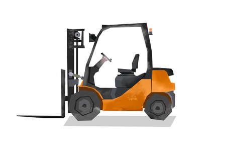 Watercolor forklift. Warehouse loader image. Cartoon print for kids room. Boys bedroom decor. Isolated orange machine 免版税图像