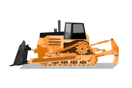 Watercolor bulldozer. Heavy machina image. Cartoon print for kids room. Boys bedroom decor. Isolated orange digger