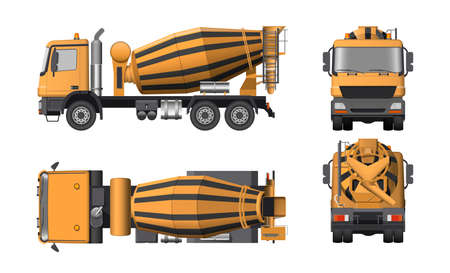 Concrete mixer truck. Side, top, front and back views. Orange isolated lorry with cement. 3d industrial blueprint. Construction vehicle for build