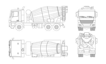 Outline concrete mixer truck. Side, top, front and back views. Isolated lorry blueprint. Industrial drawing. Construction vehicle for build Vettoriali