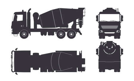 Black silhouette of concrete mixer truck. Side, top, front and back views. Isolated lorry blueprint. Industrial drawing. Construction vehicle for build 矢量图像